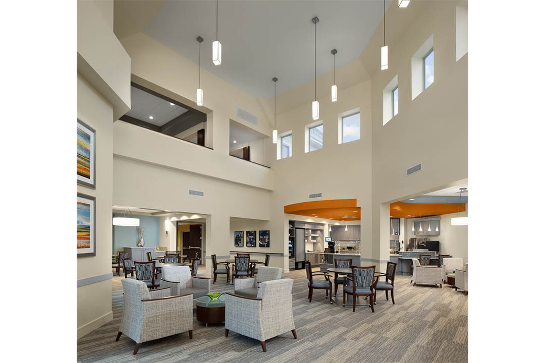 smith crossing lobby, commons and cafe entrance