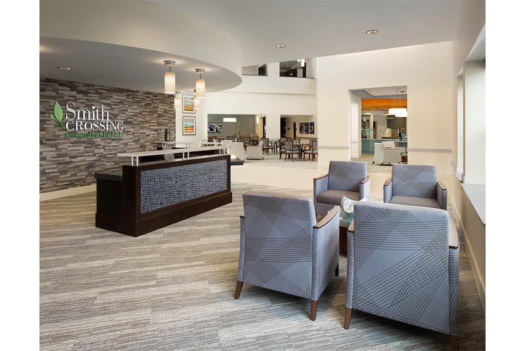 smith crossing reception desk and commons area